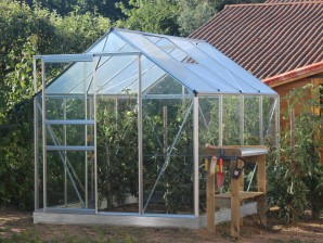 Serre verre trempé 3 mm Lams Basilic 5 m² avec base - Alu