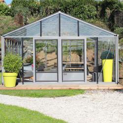 Serre de jardin en verre trempé SUPRA 31,20 m² - Aluminium