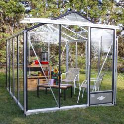 Serre de jardin en verre trempé ESSENTIA 7,30 m² - Aluminium