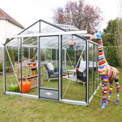 Serre de jardin en verre trempé ESSENTIA 18,70 m² - Aluminium