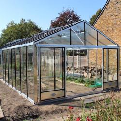Serre de jardin en verre trempé SUPRA 24,40 m² - Aluminium