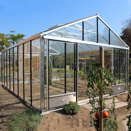 Serre de jardin en verre trempé SUPRA 27,80 m² - Aluminium