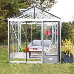 Serre de jardin en verre trempé LUXIA 7,30 m² - Aluminium