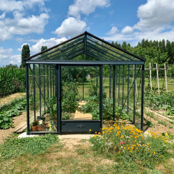 Serre de jardin en verre trempé LUXIA 14,10 m² - Coloris RAL au choix