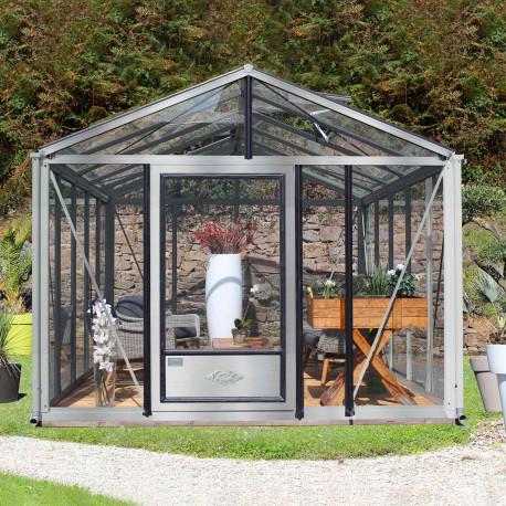 Serre de jardin en verre trempé SUPRA 16,70 m² - Aluminium naturel