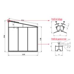 Serre adossée Lams LUXIA 5,50 m² - Coloris RAL au choix