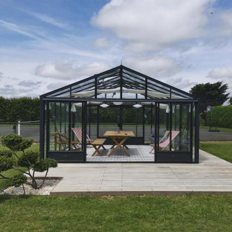 Serre de jardin SUPRA 4,60 m x 4,57 m - Gris anthracite (RAL7016)